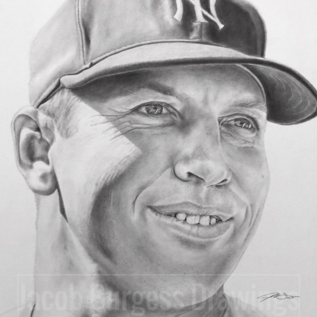"Mickey Mantle Pencil Drawing Print 11""x14"" Numbered to 300"