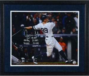 "Aaron Judge New York Yankees Framed Autographed 16"" X 20"" Hitting Photograph With ROY Inscription Stats - Limited Edition Of 99 Inscription"