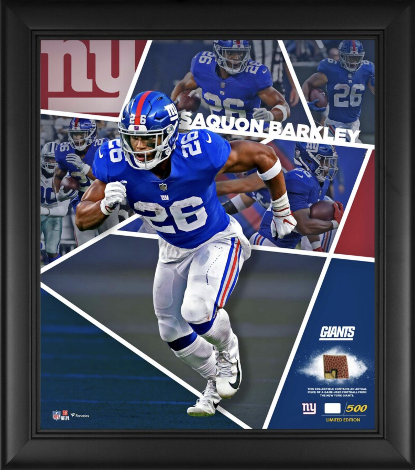 Saquon Barkley New York Giants Fanatics Authentic Framed 15″ x 17″ Impact Player Collage with a Piece of Game-Used Football – Limited Edition of 500