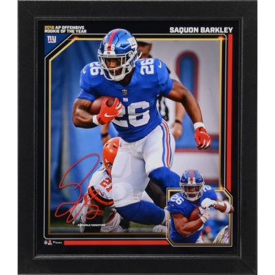 "Saquon Barkley New York Giants Fanatics Authentic 2018 NFL Rookie of the Year Framed 15"" x 17"" Collage -"