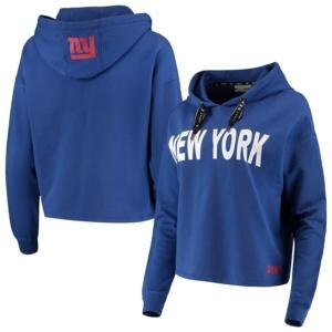 New York Giants DKNY Sport Women's Maddie Crop Pullover Hoodie –