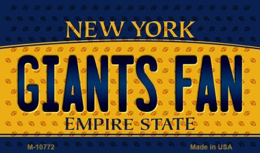 NY Giants Fan New York State License Plate Magnet -
