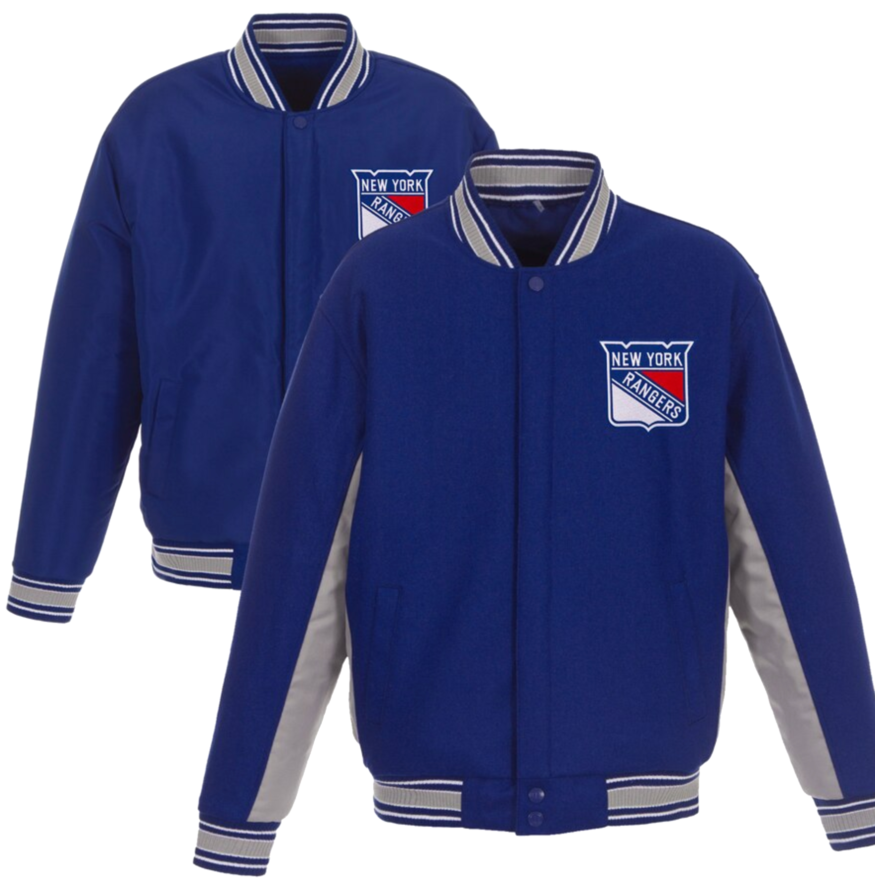 New York Rangers JH Design Wool Poly-Twill Accent Full Snap Jacket – Royal/Gray