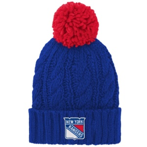Girls Youth New York Rangers Blue Knit Hat with Pom