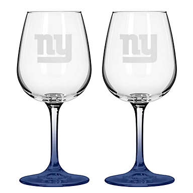 New York Giants Satin Etched Wine Glasses