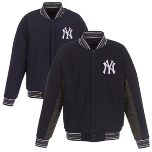 New York Yankees JH Design Wool Poly-Twill Accent Full Snap Jacket