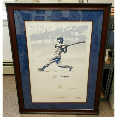 Joe DiMaggio Signed 'The Yankee Clipper' Artwork