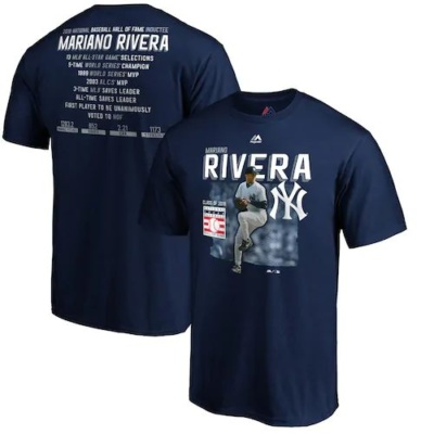 Men's Majestic Mariano Rivera New York Yankees 2019 Hall of Fame Stats T-Shirt