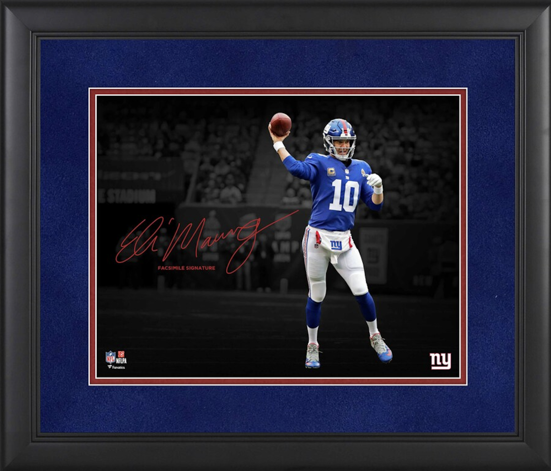 Eli Manning New York Giants Framed 11″ x 14″ Spotlight Photograph – Facsimile Signature