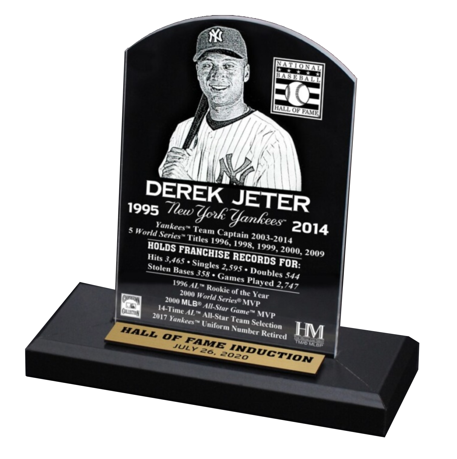 Derek Jeter New York Yankees Highland Mint 2020 Hall of Fame Induction Etched Plaque