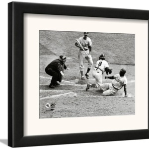 Jackie Robinson steals home during the 1955 World Series