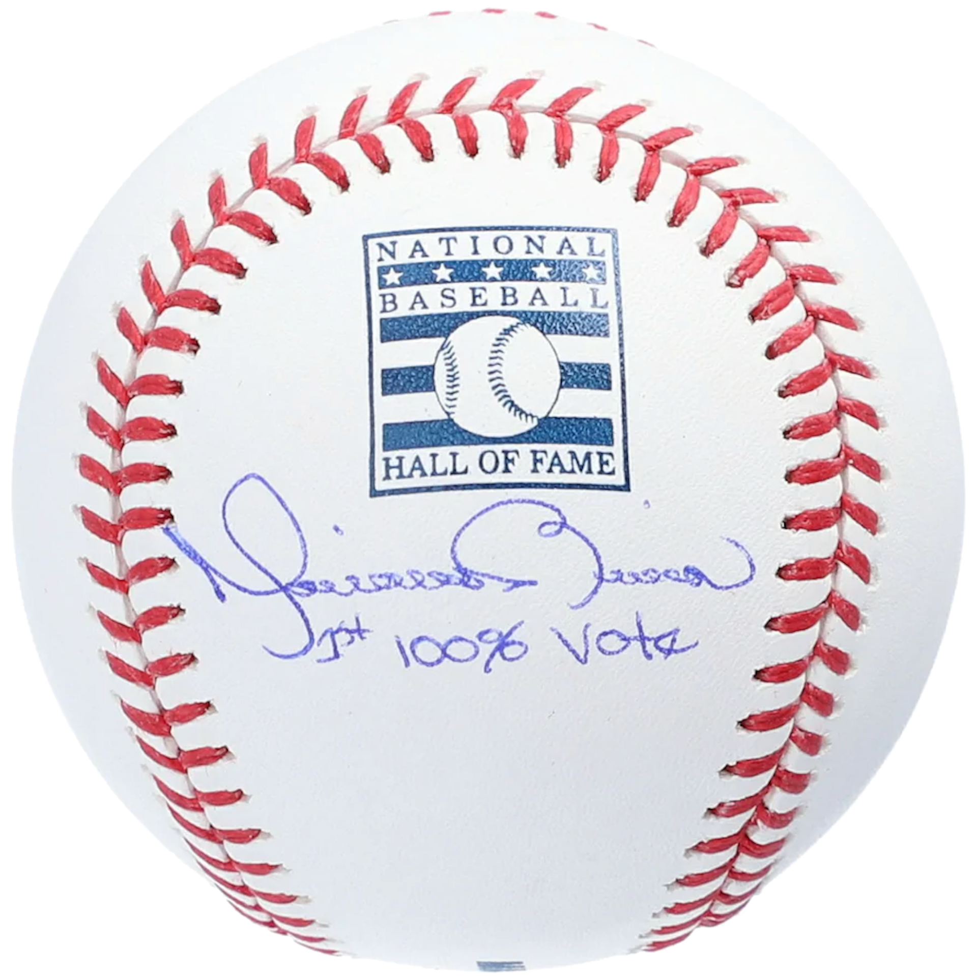"""Mariano Rivera New York Yankees Autographed Hall of Fame Logo Baseball with """"1st 100% Vote"""" Inscription"""