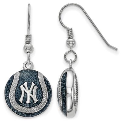 New York Yankees Sterling Silver Baseball Earrings