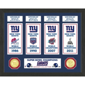 Highland Mint New York Giants Super Bowl Banner Collection Photo Mint