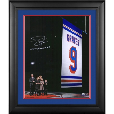 "Adam Graves New York Rangers jersey Retirement Night Banner Raising Photograph with ""Last to Wear #9"" Inscription"