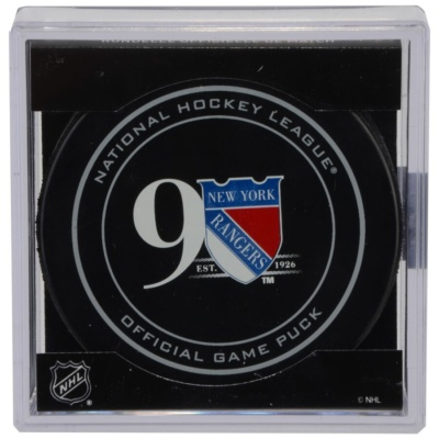 New York Rangers 90th Anniversary Season Official Game Puck