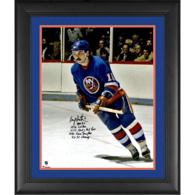 Bryan Trottier New York Islanders Framed Autographed Blue Jersey Skating Photograph with Multiple Inscriptions - Limited Edition of 18