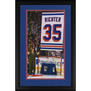 """Mike Richter New York Rangers Authentic Framed Autographed Jersey Retirement Photograph with """"Last to Wear #35"""" Inscription -"""