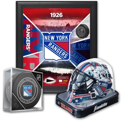 """New York Rangers Ultimate Fan Collectibles Bundle - Includes Team Impact 15"""" x 17"""" Frame, Mini Goalie Mask and Official Game Puck"""