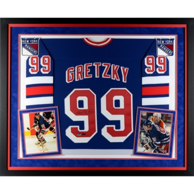 Wayne Gretzky New York Rangers Framed Autographed Blue CCM Replica Jersey -
