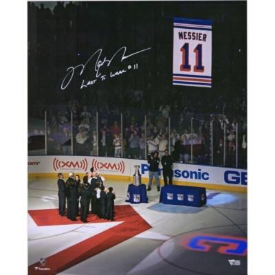 "Mark Messier New York Rangers Jersey Retirement Night Banner Raising Photograph with ""Last to Wear #11"" Inscription"