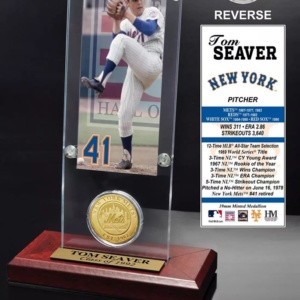Tom Seaver New York Mets Hall of Fame Ticket and Bronze Coin Acrylic Desktop Display