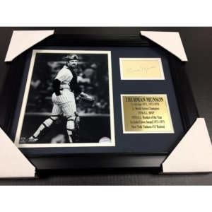 Autographed Thurman Munson Photograph - Cut Facsimile Reprint Framed