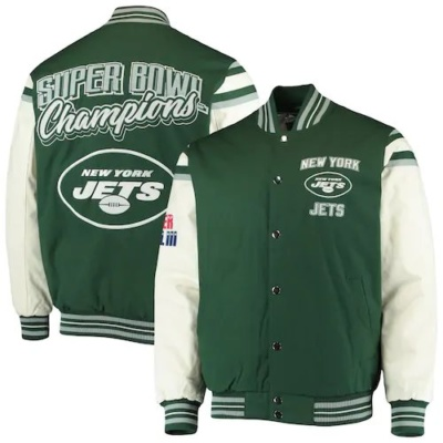 Men's G-III Sports by Carl Banks Green New York Jets Victory Formation Commemorative Full-Snap Varsity Jacket