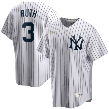 Men's New York Yankees Babe Ruth Nike White Home Cooperstown Collection Player Jersey