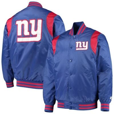 New York Giants Starter Prime Time Twill Satin Varsity Full-Snap Jacket