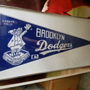 Ebbets Field Brooklyn Dodgers Framed Blue/White Banner Very Rare
