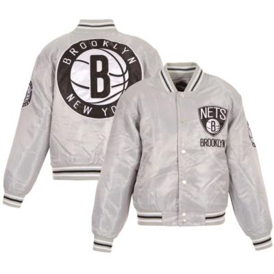 Youth Brooklyn Nets Silver Satin Jacket