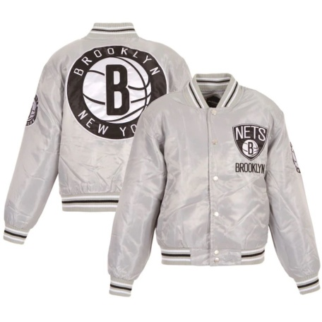 Youth Brooklyn Nets Silver Satin Jacket