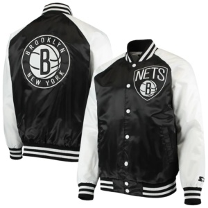 Men's Brooklyn Black/White Point Guard Satin Full-Snap Jacket