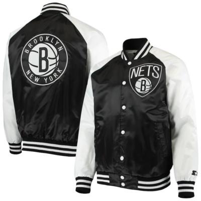 Men's Brooklyn Black/White Point Guard Satin Full-Snap Jacket