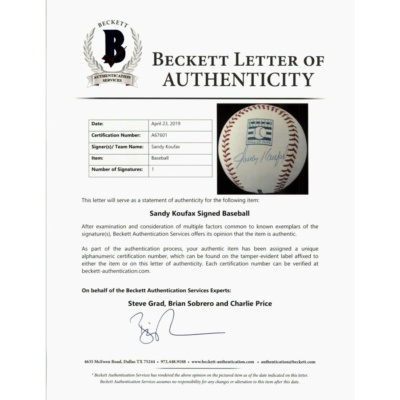 Sandy Koufax LA Dodgers Signed Autographed OMLB Beckett Full Letter A67601