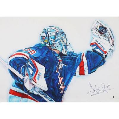 Henrik Lundqvist Autographed Blue Jersey Hintz Studios Art Print