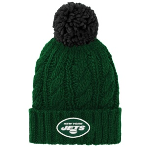 New York Jets Girls Youth Cuffed Knit Hat with Pom