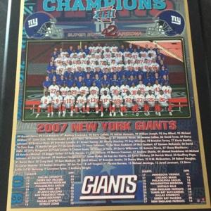 NY Giants 2007 Super Bowl plaque
