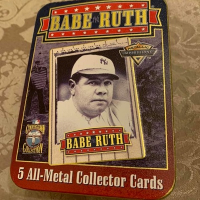 METALLIC IMPRESSIONS COOPERSTOWN COLLECTION TIN SET OF BABE RUTH!!