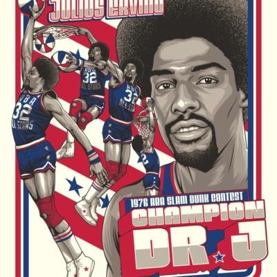 "Julius ""Dr. J."" Erving 1976 ABA Slam Dunk Legendary Moments Serigraph-"