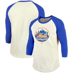 New York Mets Majestic Threads Cooperstown Collection Raglan 3/4-Sleeve T-Shirt