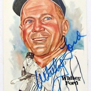 Whitey Ford Autographed Authentic Perez-Steele Postcard