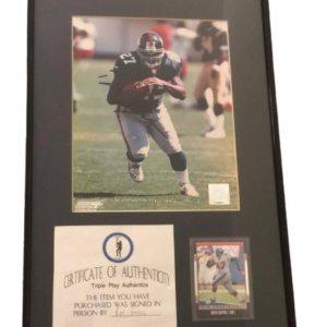 NY Giants Ron Dayne signed 8×10 in matted frame 12×20 with COA…