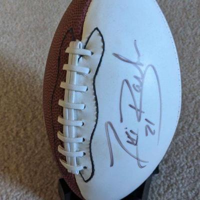 Autographed tiki barber mini football