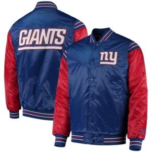 New York Giants Starter Enforcer Satin Varsity Full-Snap Jacket