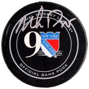 Autographed New York Rangers Mike Richter Fanatics Authentic 90th Anniversary Season Official Game Puck