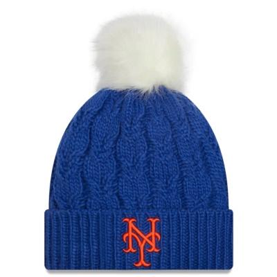 New York Mets New Era Women's Flurry Cuffed Knit Hat with Pom