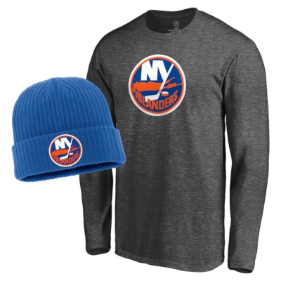 New York Islanders Fanatics Branded Knit Hat & Long Sleeve T-Shirt Set
