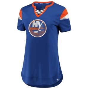 New York Islanders Iconic Athena Lace-Up V-Neck T-Shirt
